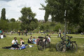 People in mauerpark berlin germany enjoy a sunny sunday picnic at on june Stock Photography