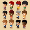 People men isometric set vector illustrator Stock Photography