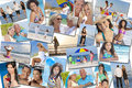 People men women children family beach vacation holiday photo montage of happy families and couples young senior and elderly Royalty Free Stock Photo
