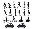 People, men and women riding modern electric scooters, cars, bicycles , skateboards,segway,hoverboard