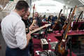People at milano guitars beyond in milan i italy october visit important trade show of string instruments with specific attention Royalty Free Stock Images