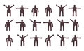 People minimalistic icons set symbols of standing bodily movements Stock Photo