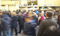 People in motion at London Underground station, rush hour photo. United Kingdom