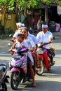 People on the motorbike on the road in Ubud. Landscapes of Indonesia.