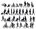 People on the move illustration of men women and children all shown in silhouette white background Royalty Free Stock Photo