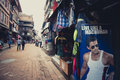 People in the mrket street of the old city of Bhaktapur Royalty Free Stock Photos