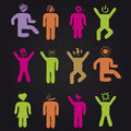People of music festival. Icon set. Royalty Free Stock Photo