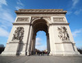 People near triumphal arch in Paris Stock Photo