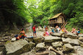People near waterfall in Sochi, Russia Stock Photography