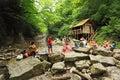 People near waterfall in Sochi, Russia Stock Photography