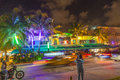 People by night on ocean drive miami beach usa august view at august in miami beach florida art deco life in south beach is one of Stock Photography