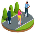 People on One-wheeled Self-balancing electric scooter vector isometric illustrations. Intelligent and fashionable