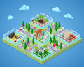 People in Outdoor Zoo Park with Animals. Isometric flat 3d illustration
