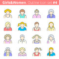 People outline icon set modern thin line pictogram collection girl and woman color avatars on white background premium quality Royalty Free Stock Photography