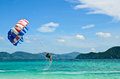 PEOPLE ARE PARASAILING in phuket Royalty Free Stock Images