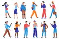 People with phone set, young man woman characters in casual clothes using smartphone Royalty Free Stock Photo