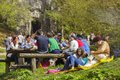 People picnicking unidentified relax socialize and picnic on weekends at solomon s stones gorge a well known tourist attraction in Royalty Free Stock Photography