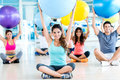 People in a pilates class group of at the gym Stock Image