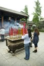 People placing smoking incense sticks worshipers buddhist temple chengdu Stock Photo