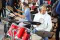 People play on the electronic drum kit moscow sep with headphones xviii international exhibition of music moscow in sokolniki Royalty Free Stock Photography