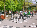 People play street chess in the park in Geneva, Stock Image