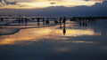 People playing beach evening very beautiful Stock Photography