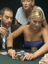 People playing poker game a Stock Photo