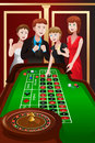 People playing roulette in a casino vector illustration of group of Royalty Free Stock Photography