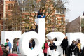 People posing for photo on the letters of writing, I amsterdam, Museumplein, Rijksmuseum, Holland