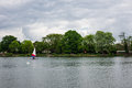 People practice sailing on a Spring day in South Norwood lake