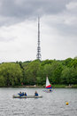 People practicing sailing on South Norwood Lake with Crystal Pal Royalty Free Stock Photo