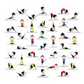 People practicing yoga, 25 poses for your design Stock Photo