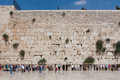 People pray at the western wall jerusalem israel wide shot with blue sky Royalty Free Stock Image