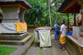 People praying at the Elephant temple in Bali, Indonesia Royalty Free Stock Photo