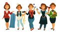 People professions woman stewardess, tailor dressmaker, makeup stylist vector flat isolated set