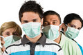 People protection flu wear protective mask Royalty Free Stock Photos