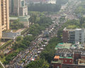 People protest taiwan s trade pact taipei march hundreds of thousands of with china outside the presidential building in Stock Photo