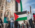People protesting against gaza strip bombing in milan italy july protest solidarity with palestinians on july Royalty Free Stock Image