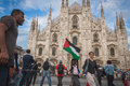 People protesting against gaza strip bombing in milan italy july protest solidarity with palestinians on july Royalty Free Stock Images