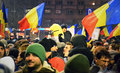 People protesting against the government in Bucharest