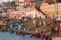 People purify themselves from sins in the ganges in the holy city of haridwar india Royalty Free Stock Photos