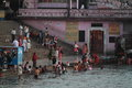 People purify themselves from sins in the ganges in the holy city of haridwar india Stock Photos