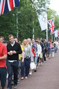 People queeing entering Olympics facilities Stock Photo