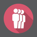 People queue flat icon. Round colorful button, circular vector sign with long shadow effect