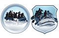 People in rafts icons or buttons with silhouettes of rowing or paddling Royalty Free Stock Images