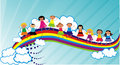 People on a rainbow Stock Image