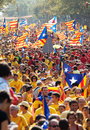 People at rally demanding independence for catalonia barcelona spain september national day of barcelona Royalty Free Stock Image