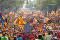 People at rally demanding independence for catalonia barcelona spain september national day of in barcelona spain Royalty Free Stock Photography