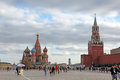People at red square with saint basil cathedral moscow oct and spasskaya tower in moscow on october is central place Stock Photo