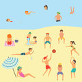 People relaxing on the beach. Vector illustration